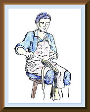 Pen and chalk Sketch of a shoemaker; drawn by George McCartney.