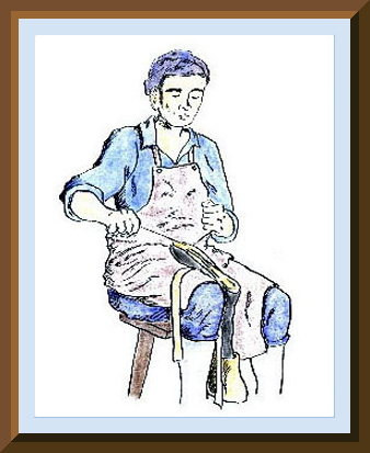 Pen and chalk image of a shoemaker; drawn by the webmaster.