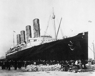 Photo of the steamship Lusitania on which Henry McCartney traveled